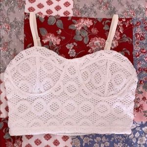 White bustier crop top from Charlotte russe